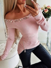 Pink Patchwork Pearl Zipper Off Shoulder Long Sleeve Blouse