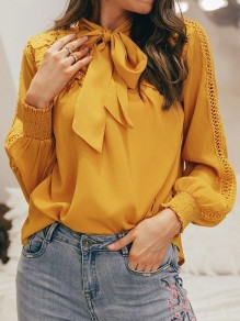 Yellow Patchwork Lace Bow Long Sleeve Elegant Blouse