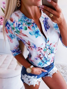 Blue White Flowers Print Buttons V-neck Half Sleeve Blouse