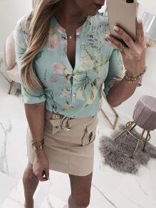 Green Floral Buttons V-neck Elbow Sleeve Fashion Blouse