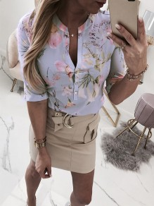 Light Purple Floral Buttons V-neck Elbow Sleeve Fashion Blouse
