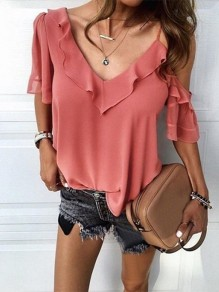 Orange Ruffle Cut Out V-neck Short Sleeve Fashion Blouse