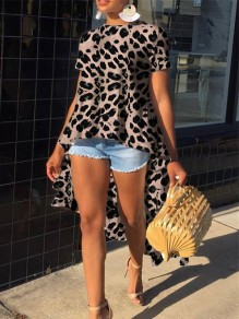 Brown Leopard Print Ruffle High-low Round Neck Short Sleeve Blouse