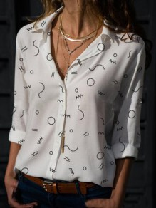 White Floral Single Breasted Turndown Collar Long Sleeve Blouse