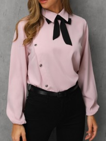 Pink Bow Irregular Turndown Collar Long Sleeve Elegant Blouse