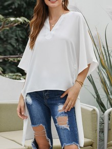 White Irregular V-neck Dolman Sleeve Slit High-low Fashion Blouse