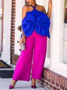 Blue Patchwork Big Bow Halter Neck Sleeveless Africa Style Cute Blouse