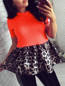 Neon Orange Round Neck Short Sleeve Patchwork Leopard Peplum Tutu Ruched Work Casual Cute Blouse