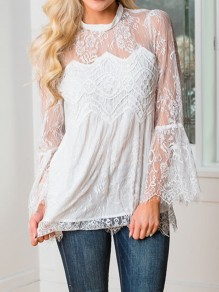 White Patchwork Lace Irregular Band Collar Long Sleeve Blouse