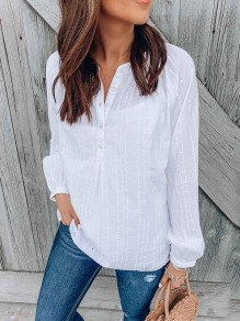 White Embroidery Cut Out Buttons V-neck Long Sleeve Fashion Blouse
