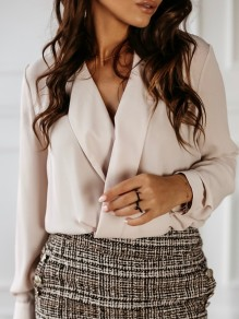 Apricot Buttons Turndown Collar Long Sleeve Fashion Blouse