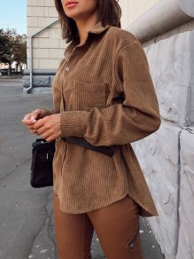 Brown Single Breasted Pockets Turndown Collar Long Sleeve Corduroy Fashion Blouse