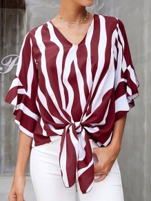 Red White Striped V-neck Elbow Sleeve Oversize Blouse