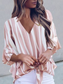 Pink White Striped V-neck Elbow Sleeve Oversize Blouse