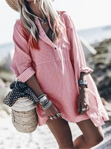 Red White Striped V-neck Long Sleeve Oversize Long Blouse