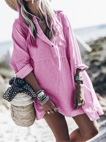 Pink White Striped V-neck Long Sleeve Oversize Long Blouse