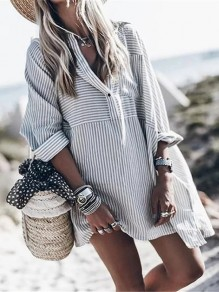 Grey White Striped V-neck Long Sleeve Oversize Long Blouse