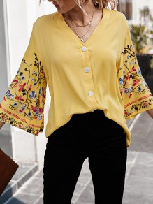 Yellow Floral Single Breasted V-neck Flare Sleeve Fashion Blouse