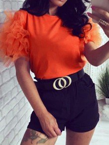 Orange Patchwork Grenadine Round Neck Short Sleeve Cute Blouse