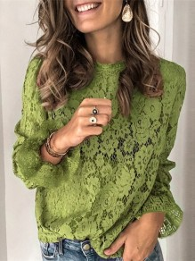 Green Patchwork Lace Round Neck Long Sleeve Blouse