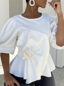 White Cascading Ruffle Pleated Peplum Party Blouse