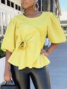 Yellow Cascading Ruffle Pleated Peplum Party Blouse