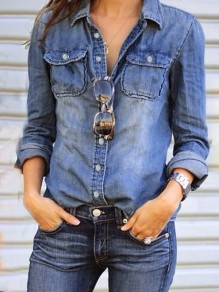 Blue Patchwork Buttons Turndown Collar Long Sleeve Fashion Blouse