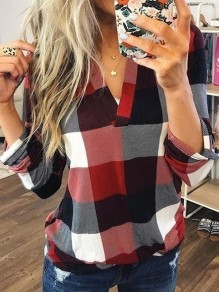 Red Plaid Print V-neck Long Sleeve Plus Size Casual Preppy Style Blouse