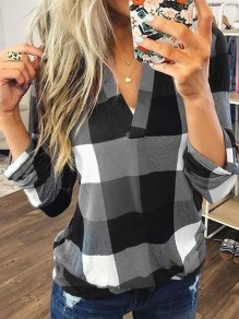 Grey Plaid Print V-neck Long Sleeve Plus Size Casual Preppy Style Blouse