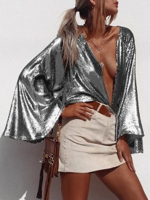 Silver Sequin Print Deep V-neck Flare Long Sleeve Glitter Sparkly Birthday Party Blouse