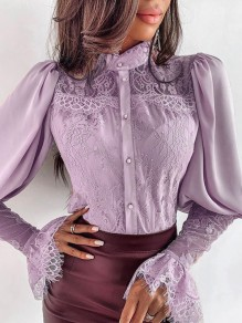 Pink Lace Band Collar Flare Sleeve Long Sleeve Elegant Blouse