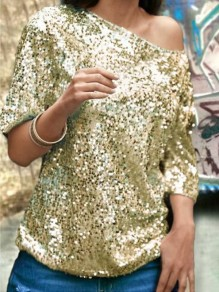Golden Sequin V-neck Off Shoulder Elbow Sleeve Glitter Sparkly Birthday Party Blouse
