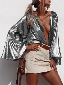 Silver Patchwork Sequin oversize Collarless Flare Sleeve Fashion Blouse