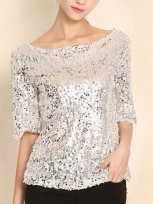 Silver Sequin Round Neck Elbow Sleeve Glitter Sparkly Birthday Party NYE Casual Blouse