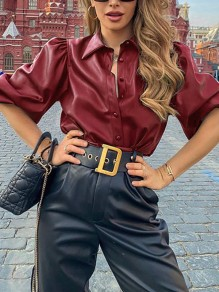 Red Single Breasted PU Leather V-neck Puff Sleeve Elegant Blouse