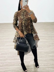 Yellow Leopard Print Round Neck Long Sleeve High-low Homecoming Blouse