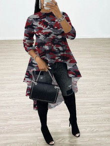 Red Camouflage Print Round Neck Long Sleeve High-low Homecoming Blouse