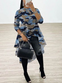 Blue Camouflage Print Round Neck Long Sleeve High-low Homecoming Blouse