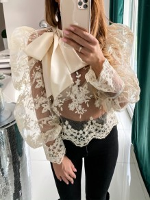 Apricot Patchwork Lace Cut Out Puff Sleeve Fashion Blouse