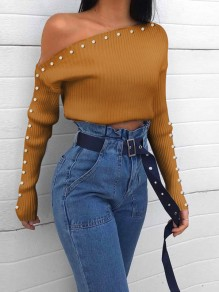 Yellow Patchwork Pearl Long Sleeve Off Shoulder Cute Blouse