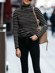 Black Striped Print High Neck Long Sleeve Fashion Cardigan Sweatshirt