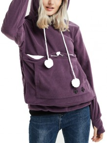 Purple Animal Drawstring Pockets Others Long Sleeve Fashion Cardigan Sweatshirt