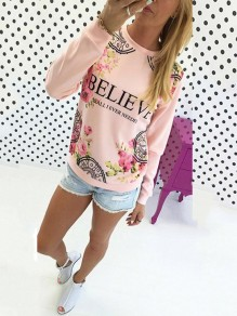 Pink Floral Pattern Bodycon Comfy Round Neck Going out Sweatshirt