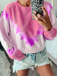 Red Tie Dye Gradient Color Round Neck Comfy Casual Going out Sweatshirt