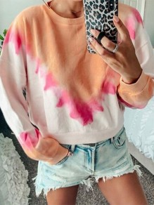Orange Tie Dye Bodycon Comfy Gradient Color Round Neck Going out Sweatshirt