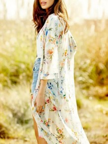 Apricot Floral Print Long Sleeve Bohemian Cardigan