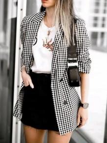 Black-White Plaid Buttons Turndown Collar Double Breasted Vintage Blazer Suit Coat