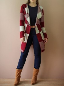 Red-White Plaid Draped Turndown Collar Knit Christmas Casual Cardigan Coat