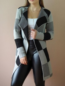 Black-White Plaid Draped Turndown Collar Knit Christmas Casual Cardigan Coat