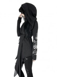 Black Monogram Pockets Restyle Witchcraft Halloween Irregular Oversized Hooded Gothic Alternative Goth Cardigan Coat